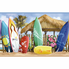 878537 Surfside Beach Surfboard Wallpaper Border CT46111b