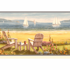 878541 Seaside Cottage Wallpaper Border DLR20021b SM20021b
