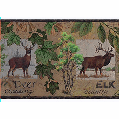 878560 Moose Deer Elk Crossing Signs Wallpaper Border LM7920bd