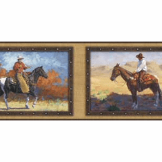 878578 Framed Cowboy Horse Wallpaper Border