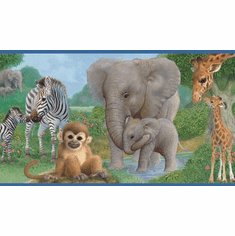 878594 Jungle Animal Babies Wallpaper Border