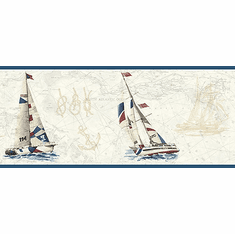 878627 Water's Edge Sailboat Wallpaper Border DLR53591b