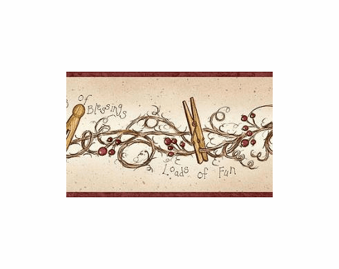 878647 Clothespins and Rosehips Wallpaper Border FAM65043b