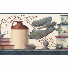 878651 Country Shelf Angels Jars Wallpaper Border PC95121b