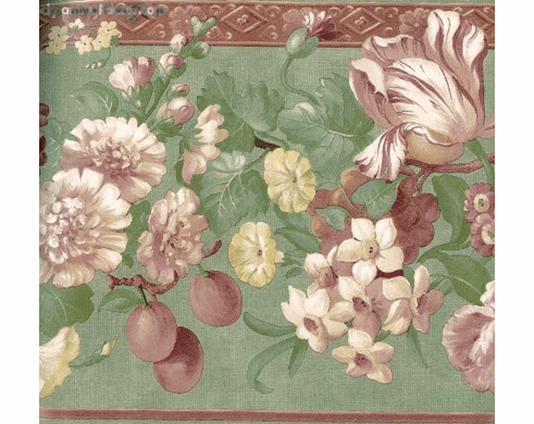 878661 Satin Floral Wallpaper Border