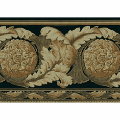 878663 Black Gold Architectural Medallion Wallpaper Border VT4680b