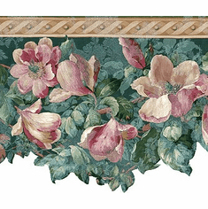 878676 Satin Magnolia Floral Wallpaper Border 592228