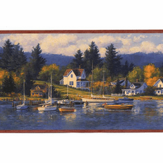 878681 Sailboat Nautical Cove Wallpaper Border CW32203b