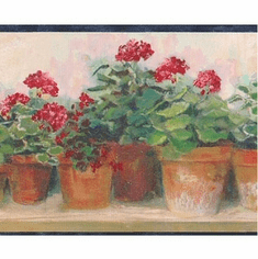 878683 Red Floral Geraniums Wallpaper Border PC95081b