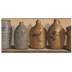 878684 Primitive Stoneware Jugs Wallpaper Border PC95163b