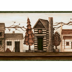 878686 Rustic Lodge Cabins Wallpaper Border TC48071b