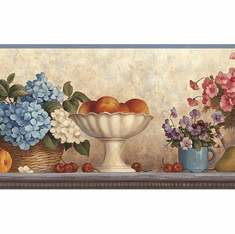 878688 Floral Fruit Hydrangea Shelf Wallpaper Border KBE12591b
