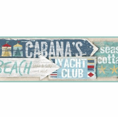 878719 Beach Signs Wallpaper Border