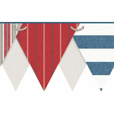 878725 Nautical Striped Pennant Wallpaper Border