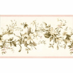 878739 Pink Cottage Floral Wallpaper Border