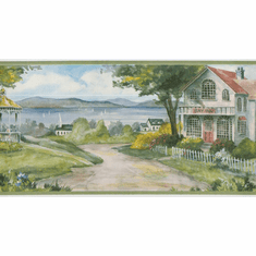 878747 Waterfront Cottages Wallpaper Border