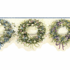 878755 Blue Calico Wreaths Wallpaper Border