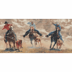878763 Western Horses Cattle Roping Wallpaper Border (Brown)