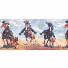 878764 Western Horses Cattle Roping Wallpaper Border (Blue)