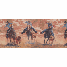 878765 Western Horses Cattle Roping Wallpaper Border (Redish)