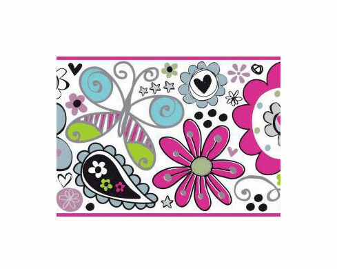 878769 Doodlerific Funky Floral Wallpaper Border BS5415b