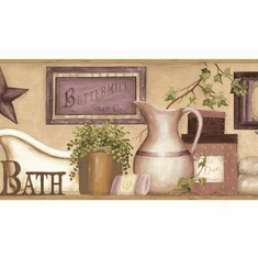 878787 Martha Country Bath Wallpaper Border Violet CTR63103b