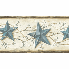 878788 Heritage Tin Star Wallpaper Border Blue CTR65366b