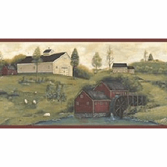 878791 Farmhouse Scene Wallpaper Border CTR63181b