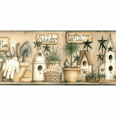 878793 Birdhouse Garden Wallpaper Border Black CTR63123b