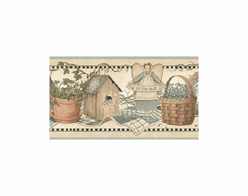 878795 Watering Cans Birdhouses Baskets Angels Wallpaper Border CTR65423b