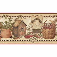 878796 Watering Cans Birdhouses Baskets Angels Wallpaper Border CTR65422b