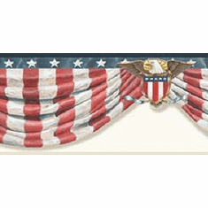 878797 Stars & Stripes Swag Wallpaper Border White CTR63171b