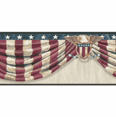 878798 Stars & Stripes Swag Wallpaper Border Grey CTR63172b