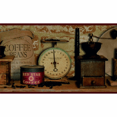 878800 Country Coffee Wallpaper Border AC4397bd