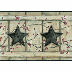 878808 Country Cutout Star and Berries Wallpaper Border AC4412bd