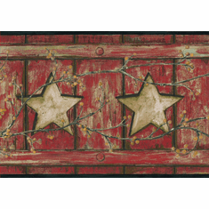 878809 Country Cutout Star and Berries Wallpaper Border AC4415bd