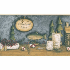 878825 Lakeside Blue Cabin Wallpaper Border 145b03850