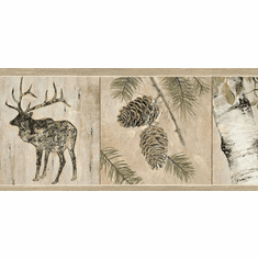 878830 Birch Elk Pinecone Wallpaper Border TTL01501b