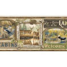 878832 Lodge Signs Neutral Wallpaper Border TTL01541b