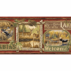 878833 Dark Red Lodge Signs Wallpaper Border TTL01542b