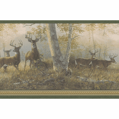 878841 Deer in Woods Green Wallpaper Border TTL44341b WM96270