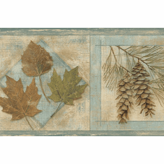 878842 Oak and Maple Leaves, Cattails, Pinecones Wallpaper Border TTL01581b