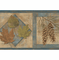 878843 Oak and Maple Leaves, Cattails, Pinecones Wallpaper Border TTL01582b