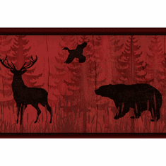 878844 Bear, Moose, Deer Silhouette Red Wallpaper Border