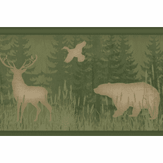 878845 Bear, Moose, Deer Silhouette Green Wallpaper Border