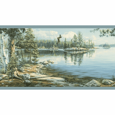 878855 Peaceful Lake Scene Lt Blue Wallpaper Border TLL01512b