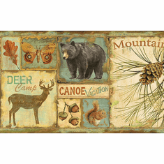 878857 Bear Deer Camp Signs Wallpaper Border
