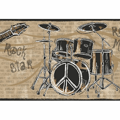 878868 Guitar Rock N Roll Black/Brown Wallpaper Border JE3639b