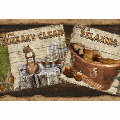 878879 Woodland Humor Brown Rustic Personification Wallpaper Border