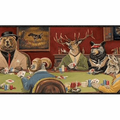 878914 Animals Playing Poker Wallpaper Border FP00371b LL50163b